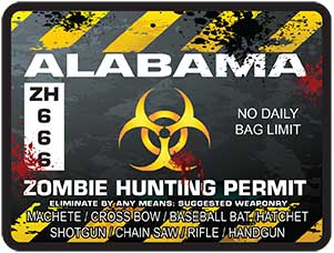Zombie Hunting Permit Decal Danger Zone Style for Alabama