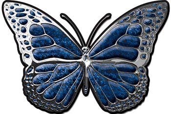 Chrome Butterfly Decal in Blue