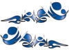 Reversed Tribal Flame Decal Kit in Blue