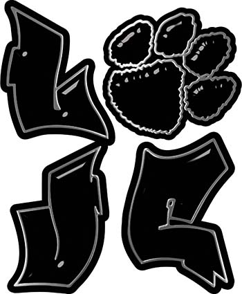 Love Decal with Pet Paw for Heart in Black