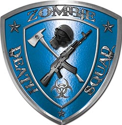 Zombie Death Squad Zombie Outbreak Decal in Blue