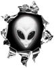 Mini Rip Torn Metal Bullet Hole Style Graphic with Gray Alien