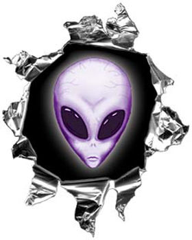 Mini Rip Torn Metal Bullet Hole Style Graphic with Purple Alien