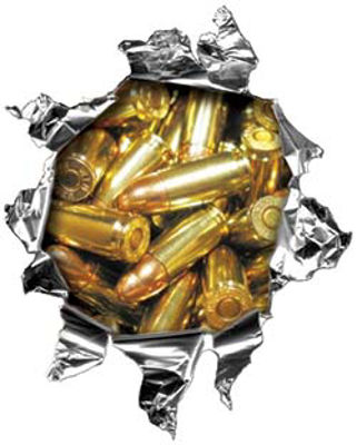 Mini Rip Torn Metal Bullet Hole Style Graphic with Handgun Ammo