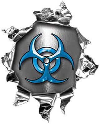 Mini Rip Torn Metal Bullet Hole Style Graphic with Blue Biohazard Symbol