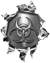 Mini Rip Torn Metal Bullet Hole Style Graphic with Silver Biohazard Symbol