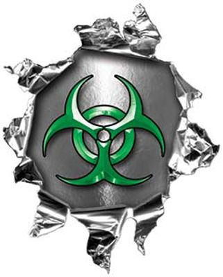 Mini Rip Torn Metal Bullet Hole Style Graphic with Green Biohazard Symbol