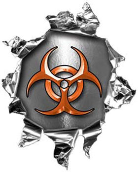Mini Rip Torn Metal Bullet Hole Style Graphic with Orange Biohazard Symbol