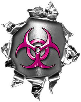 Mini Rip Torn Metal Bullet Hole Style Graphic with Pink Biohazard Symbol