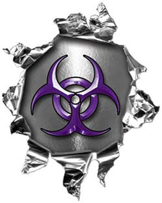 Mini Rip Torn Metal Bullet Hole Style Graphic with Purple Biohazard Symbol