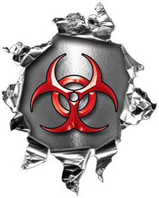 Mini Rip Torn Metal Bullet Hole Style Graphic with Red Biohazard Symbol