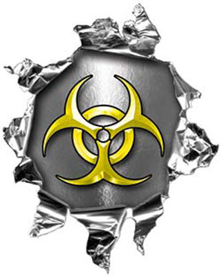 Mini Rip Torn Metal Bullet Hole Style Graphic with Yellow Biohazard Symbol