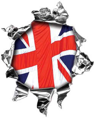 Mini Rip Torn Metal Bullet Hole Style Graphic with British Flag