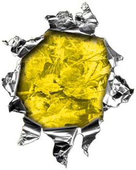 Mini Rip Torn Metal Bullet Hole Style Graphic in Yellow Camouflage
