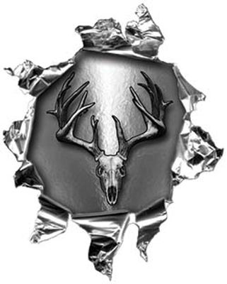 Mini Rip Torn Metal Bullet Hole Style Graphic with Gray Deer Hunter Deer Skull