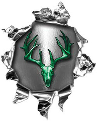 Mini Rip Torn Metal Bullet Hole Style Graphic with Green Deer Hunter Deer Skull