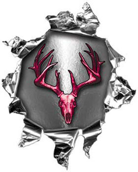 Mini Rip Torn Metal Bullet Hole Style Graphic with Pink Deer Hunter Deer Skull