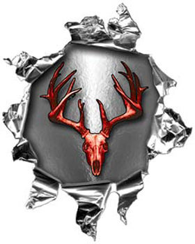 Mini Rip Torn Metal Bullet Hole Style Graphic with Red Deer Hunter Deer Skull