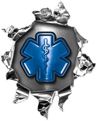 Mini Rip Torn Metal Bullet Hole Style Graphic with Blue EMS EMT MFR Paramedic Star of Life