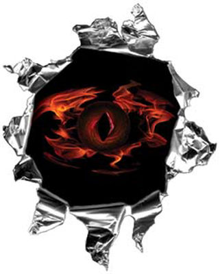 Mini Rip Torn Metal Bullet Hole Style Graphic with Flaming Demon Eye