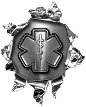 Mini Rip Torn Metal Bullet Hole Style Graphic with Gray EMS EMT MFR Paramedic Star of Life