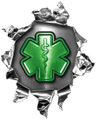 Mini Rip Torn Metal Bullet Hole Style Graphic with Green EMS EMT MFR Paramedic Star of Life