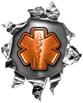Mini Rip Torn Metal Bullet Hole Style Graphic with Orange EMS EMT MFR Paramedic Star of Life