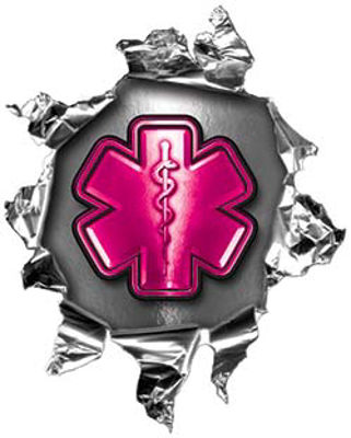Mini Rip Torn Metal Bullet Hole Style Graphic with Pink EMS EMT MFR Paramedic Star of Life