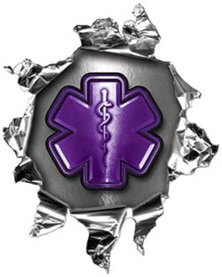 Mini Rip Torn Metal Bullet Hole Style Graphic with Purple EMS EMT MFR Paramedic Star of Life