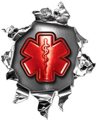 Mini Rip Torn Metal Bullet Hole Style Graphic with Red EMS EMT MFR Paramedic Star of Life