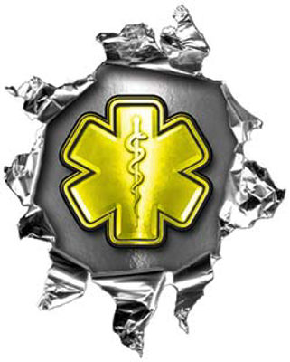 Mini Rip Torn Metal Bullet Hole Style Graphic with Yellow EMS EMT MFR Paramedic Star of Life