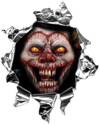 Mini Rip Torn Metal Bullet Hole Style Graphic with Evil Circus Clown