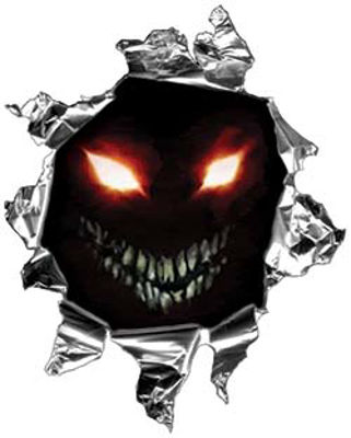Mini Rip Torn Metal Bullet Hole Style Graphic with Evil Face