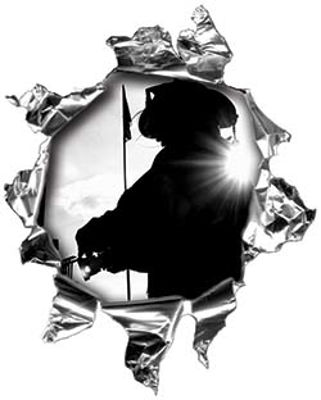 Mini Rip Torn Metal Bullet Hole Style Graphic with Firefighter Silhouette