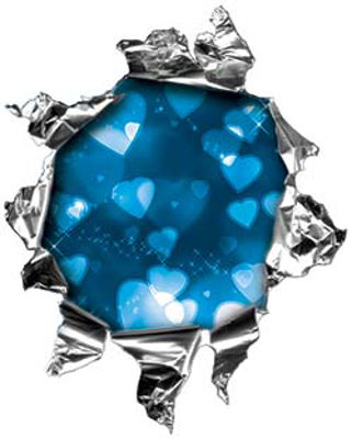 Mini Rip Torn Metal Bullet Hole Style Graphic with  Blue Hearts