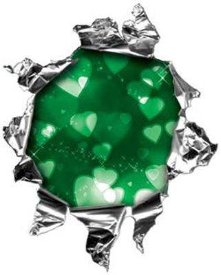 Mini Rip Torn Metal Bullet Hole Style Graphic with Green Hearts