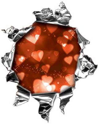 Mini Rip Torn Metal Bullet Hole Style Graphic with Orange Hearts