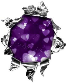 Mini Rip Torn Metal Bullet Hole Style Graphic with Purple Hearts