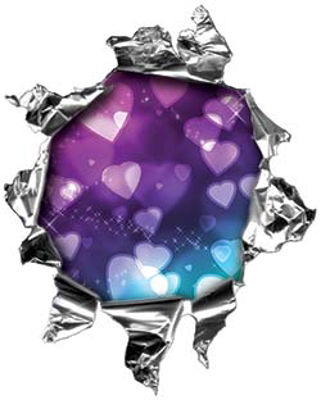 Mini Rip Torn Metal Bullet Hole Style Graphic with Purple to Blue Hearts