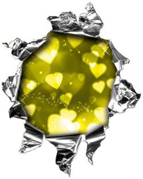 Mini Rip Torn Metal Bullet Hole Style Graphic with Yellow Hearts