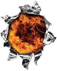Mini Rip Torn Metal Bullet Hole Style Graphic with Inferno Flames