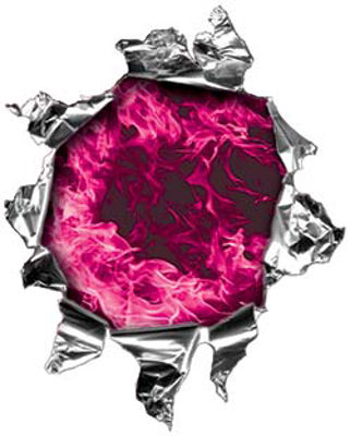 Mini Rip Torn Metal Bullet Hole Style Graphic with Pink Inferno Flames