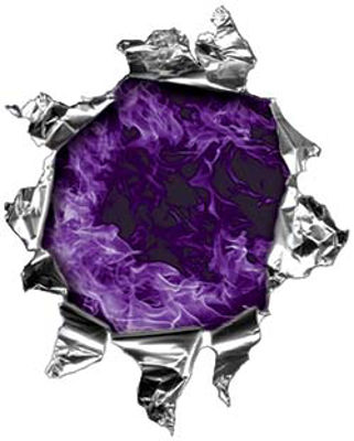 Mini Rip Torn Metal Bullet Hole Style Graphic with Purple Inferno Flames