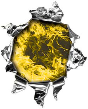 Mini Rip Torn Metal Bullet Hole Style Graphic with Yellow Inferno Flames