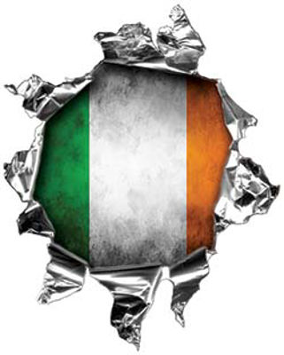 Mini Rip Torn Metal Bullet Hole Style Graphic with Irish Flag