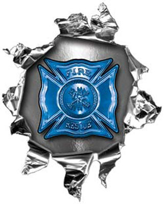 Mini Rip Torn Metal Bullet Hole Style Graphic with Blue Firefighter Maltese Cross