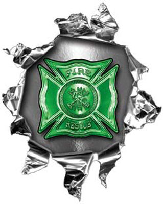 Mini Rip Torn Metal Bullet Hole Style Graphic with Green Firefighter Maltese Cross