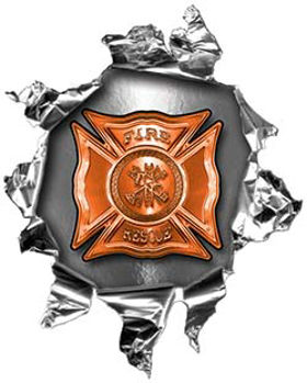 Mini Rip Torn Metal Bullet Hole Style Graphic with Orange Firefighter Maltese Cross