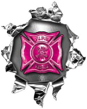 Mini Rip Torn Metal Bullet Hole Style Graphic with Pink Firefighter Maltese Cross