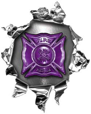 Mini Rip Torn Metal Bullet Hole Style Graphic with Purple Firefighter Maltese Cross